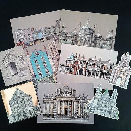 Postcard Mini Prints Set with Luxury stickers