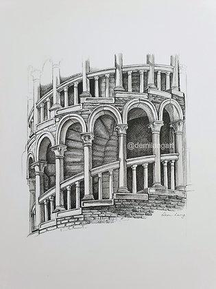 """Scala Contarini del Bovolo Original Drawing        9"""" x 11"""""""