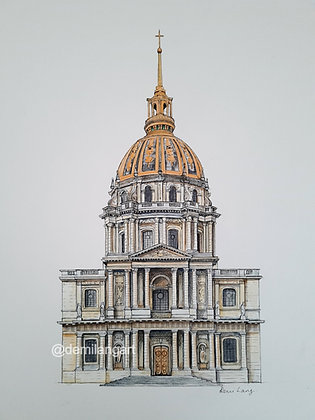 Mounted Original Watercolour and Ink Drawing of Les Invalides, Paris