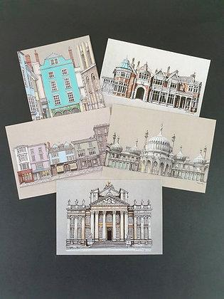 Set of 5 Postcards - Colour Collection
