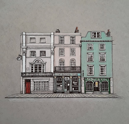 The Grand Cafe, Oxford. Limited Edition Giclee Print 20cm x 20cm