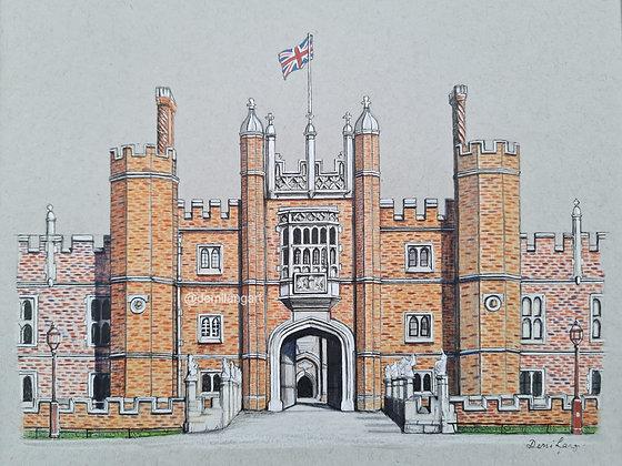 Hampton Court Palace Original Mounted Drawing