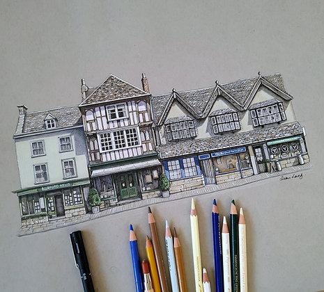 Burford Shops, Cotswolds. Original A3 Illustration.