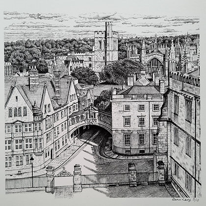 Oxford Aerial View, Large Square Giclee Print