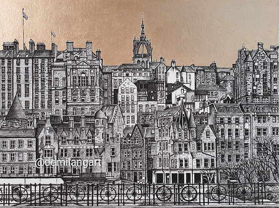Edinburgh Old Town A4 Print with Hand Painted Gold Sky
