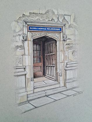 Bodleian Library Door Original Drawing 10in  x 12in
