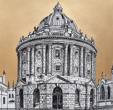 Large Radcliffe Camera Limited Edition Print with Hand Painted Gold Sky