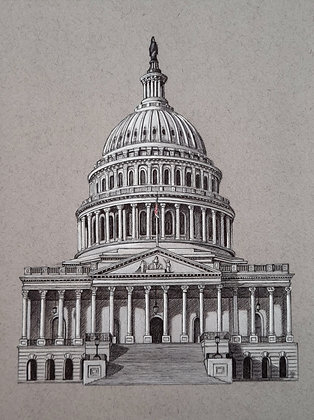 """United States Capitol, Limited Edition Giclee Print 8""""x 10"""""""