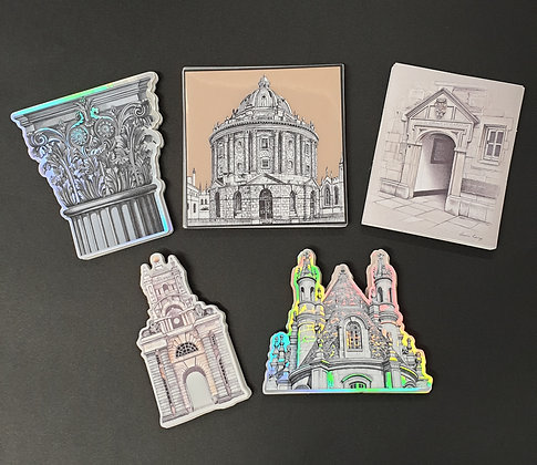 Pack of 5 Luxury Stickers. Holographic, Mirror & Gold Sheen
