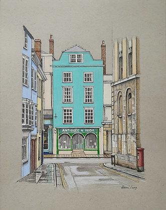 "Antiques & High, Oxford, Original  8"" x 10"" Illustration"