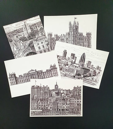Set of 5 Postcards - Black & White Collection