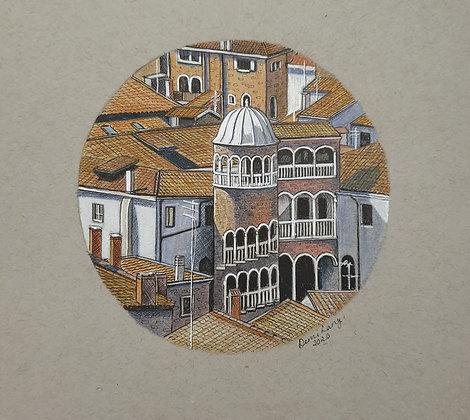 Scala Contarini Del Bovolo, Venice. Original Sketch.