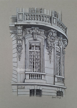 Parian architecture Original Mounted Drawing