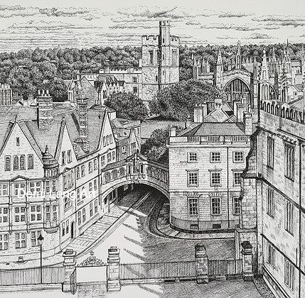 Oxford Aerial View, Oxfordshire, UK 30cm x 30cm