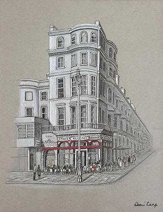 "The Regency Restaurant, Brighton. Mounted Original Sketch 10"" x 12"""