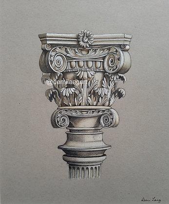 Corinthian Column Mounted Original Drawing