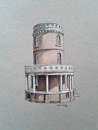 Clavell Tower, Dorset, UK Original Mounted Sketch