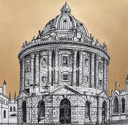 'Miniature' Radcliffe Camera Giclée Print with Hand Painted Gold Sky