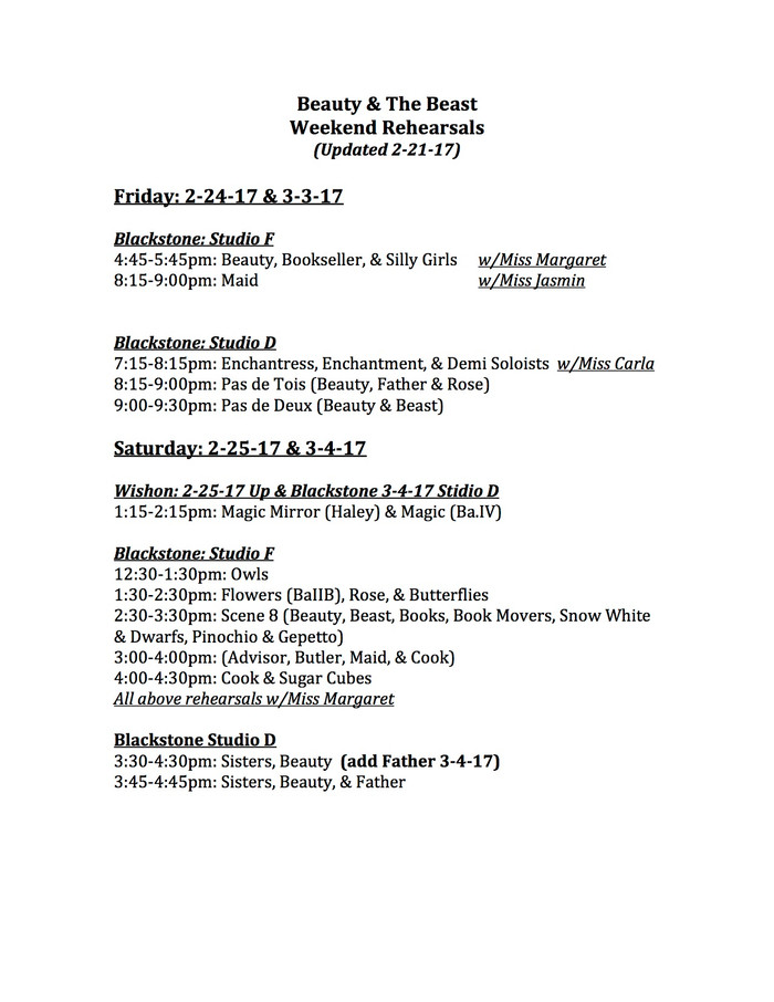 Weekend Rehearsal Schedule for 2/25-3/4