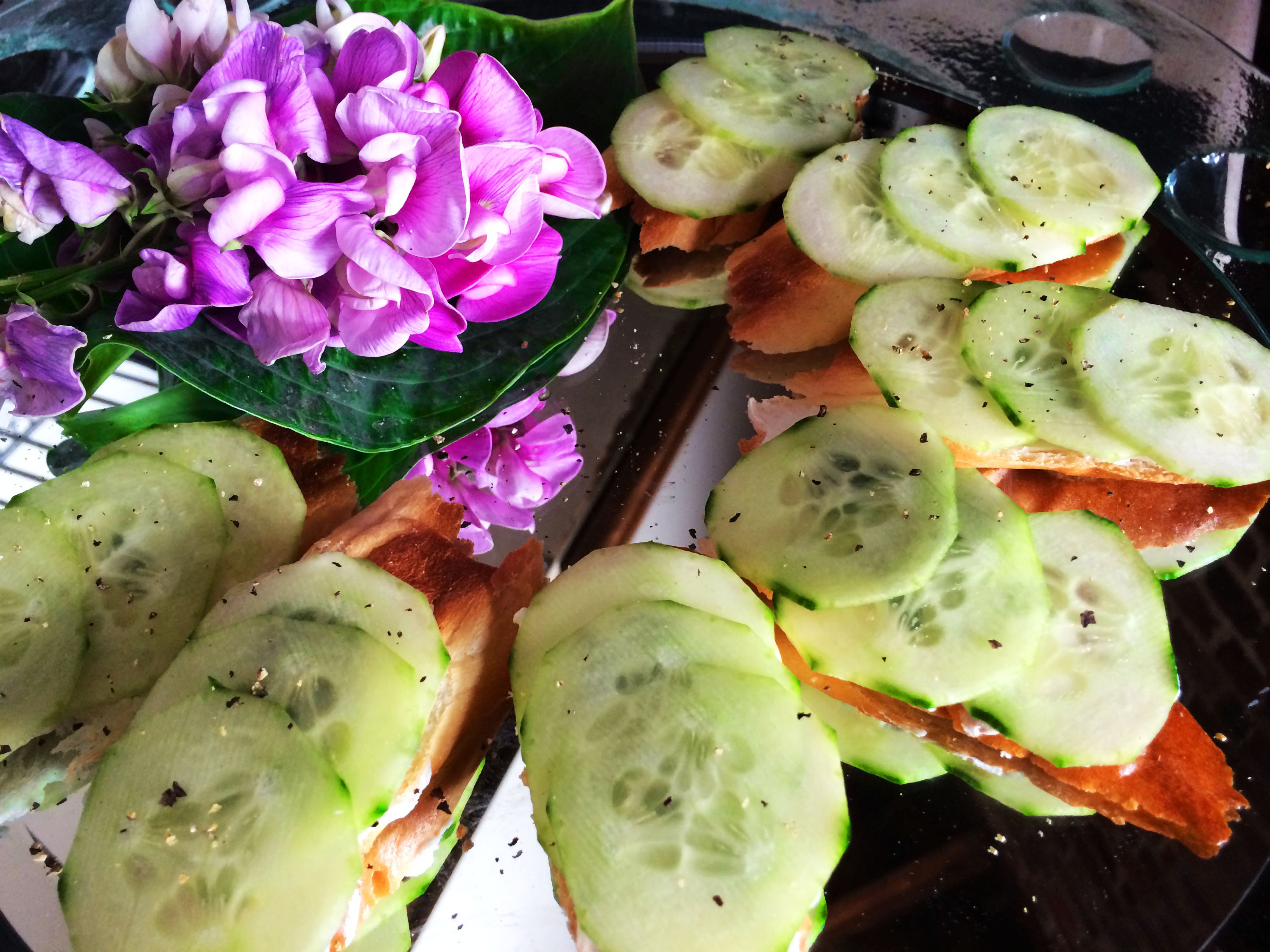 Open cucumber sandwiches