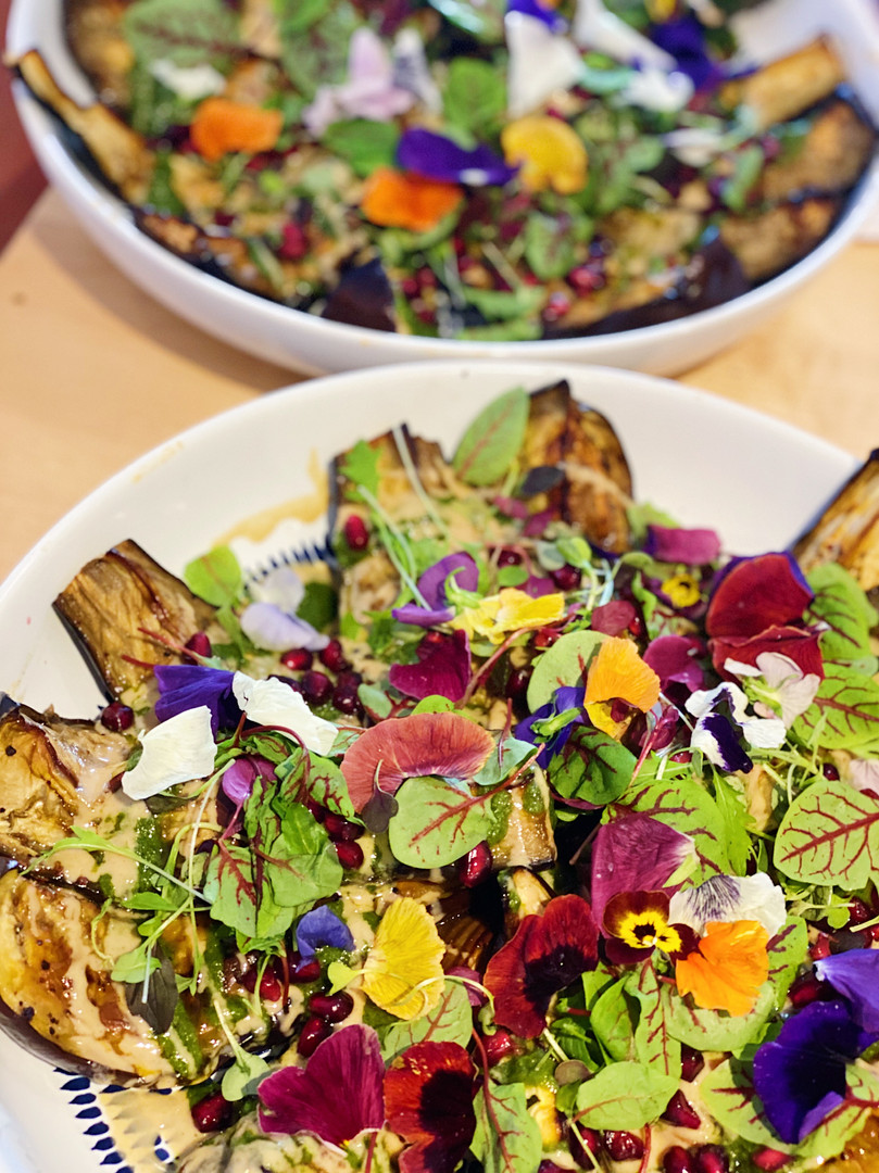 Grilled aubergine with tahini