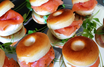 Mini bagels with smoked salmon and creme cheese