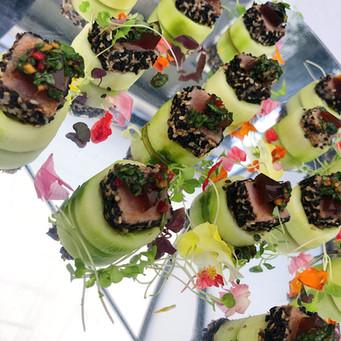 Tuna on cucumber cups