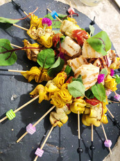 Courgette and grilled halloumi