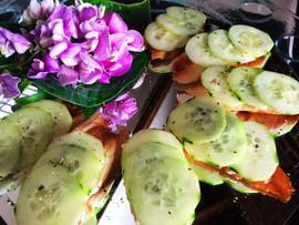 Open cucumber sandwiches