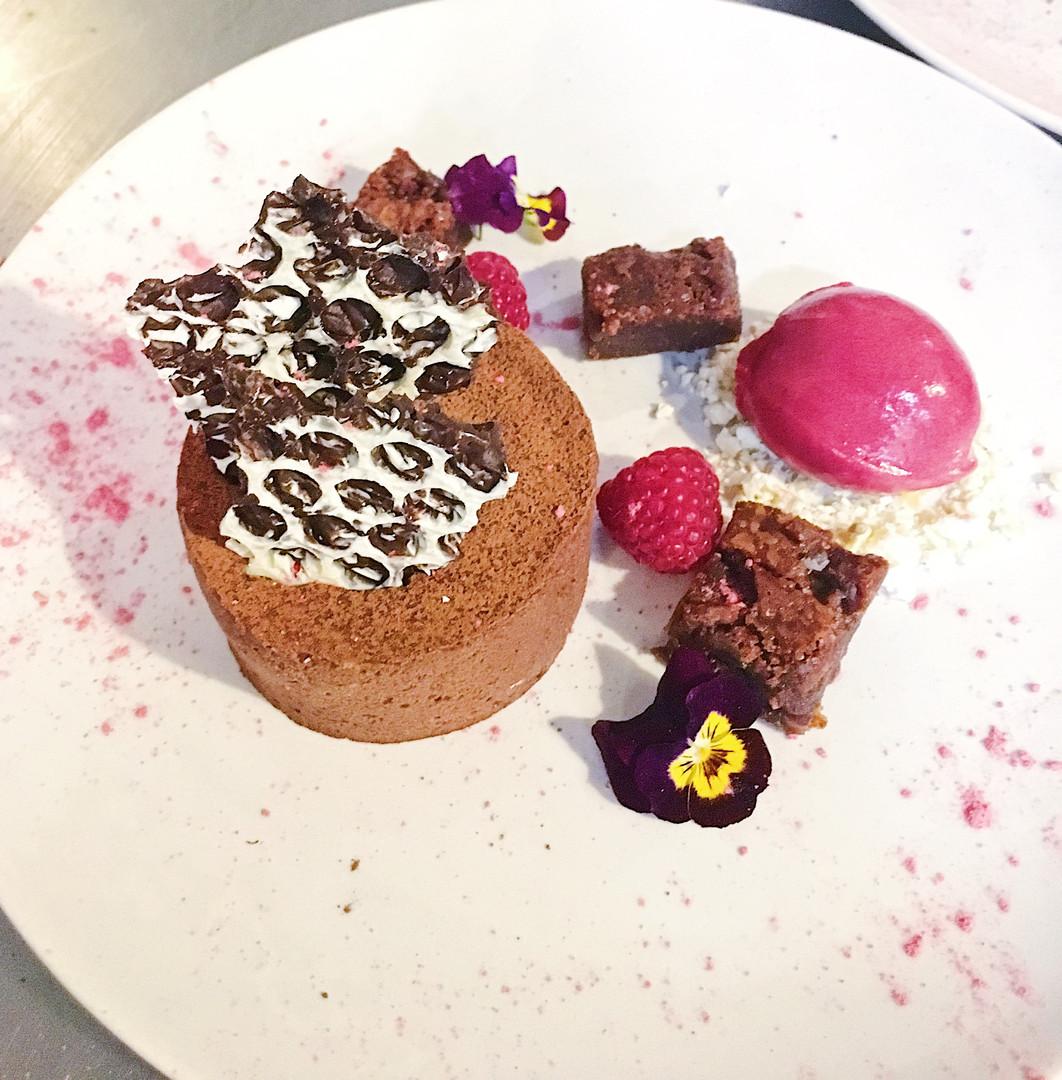 Chocolate fondant with blackberry
