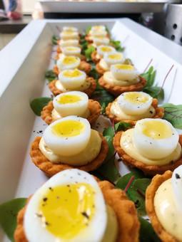 Quails eggs on parmesan shortbread