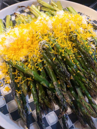 Asparagus with parmesan and cured egg yolks