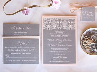 Pink Orchid Invitation Pocketfold