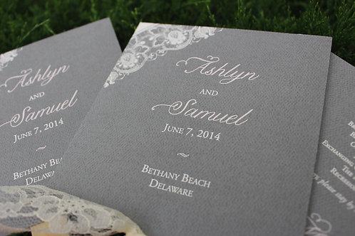 Gray Lace Wedding Program Fans (Set of 25)