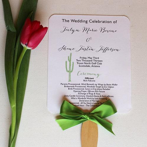 Cactus Wedding Program Fans (Set of 25)