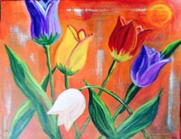 Sunbathing Tulips 11x14 $150