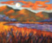 """Moon"" 24x30x2. Orange and blue. Such pr"