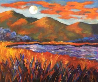 """""""Moon"""" 24x30x2. Orange and blue. Such pr"""