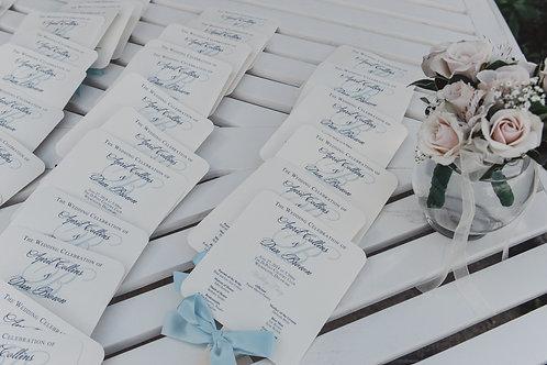 Navy Wedding Program Fans (Set of 25)