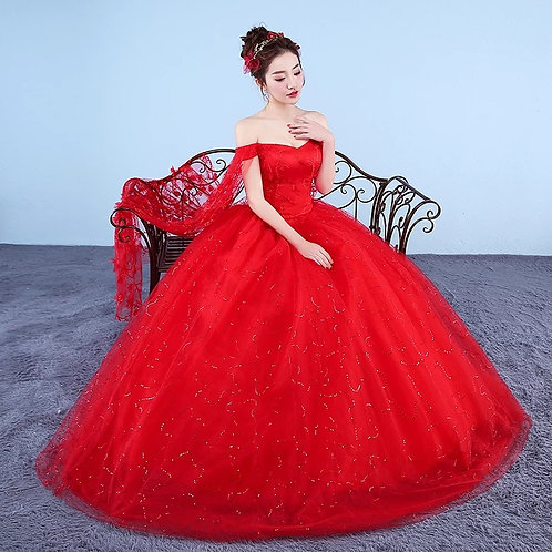 Elegant Sequenced red ball gown with small trail