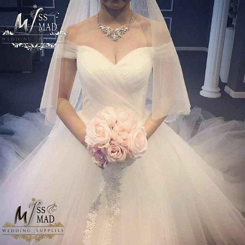Long trail wedding gown