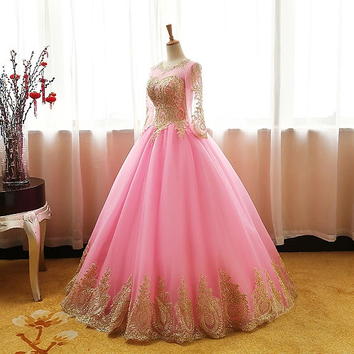 Pink net and lace ball Gown