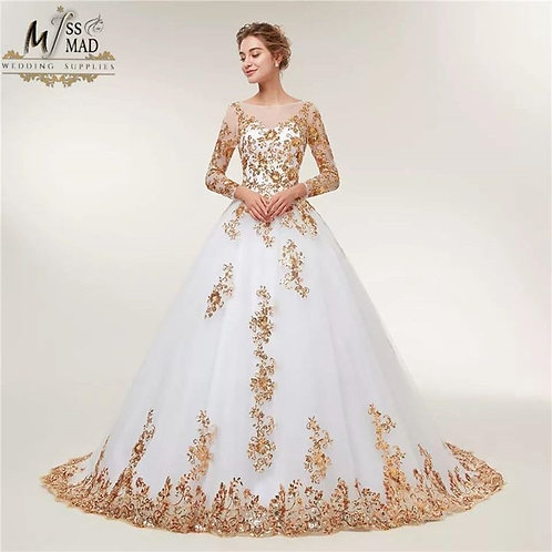 White wedding gown with trail A-line gown
