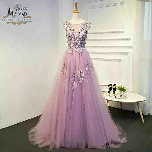 A-line floral pastel gown