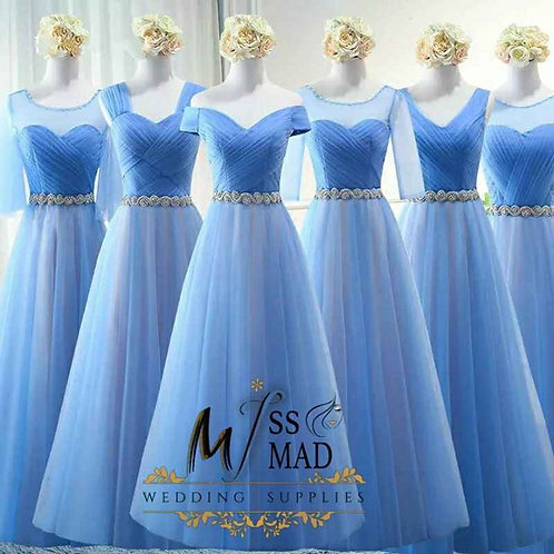 Pastal shade A-line Bridesmaid gown