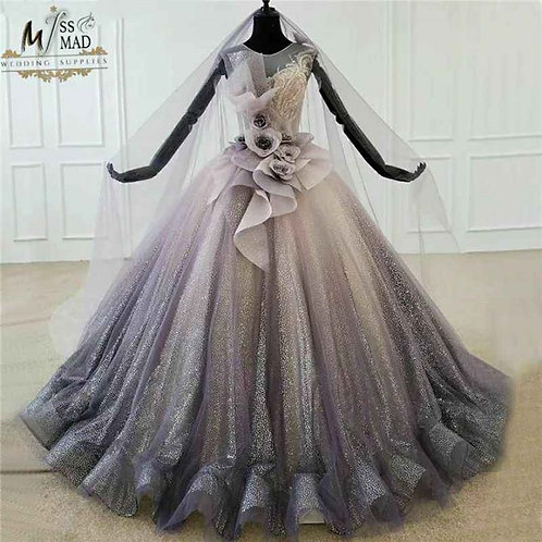 Shimmer sequenced heavy ball gown