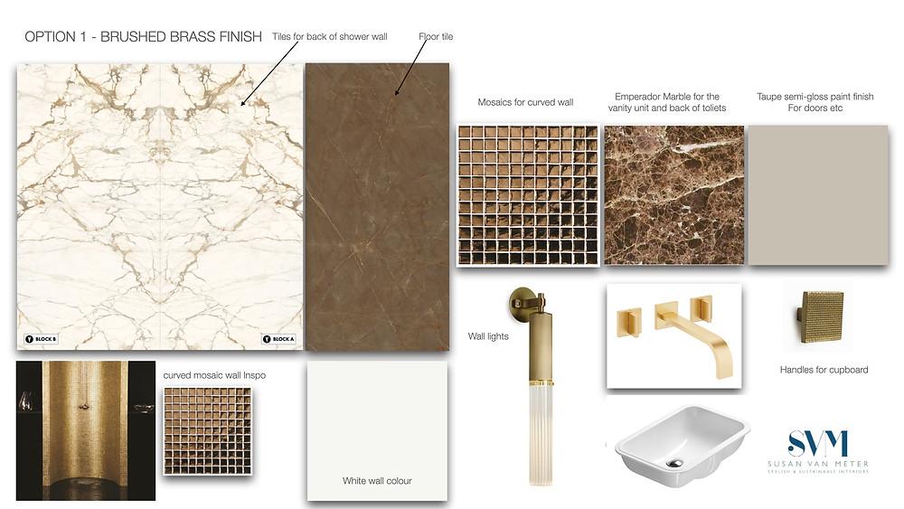 Luxury interior design mood board for bathroom