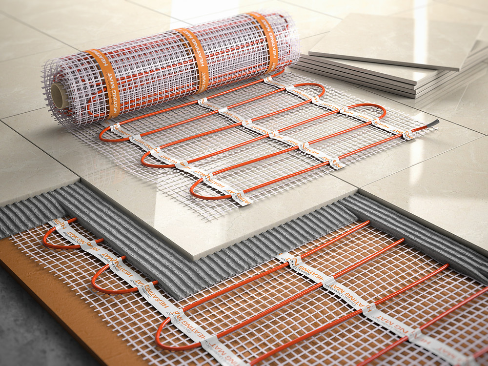 Electric underfloor heating in bathroom floors