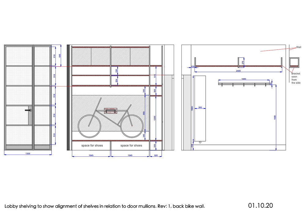 Bespoke Crittal designed lobby with door, partition and shelving with a bike rack.