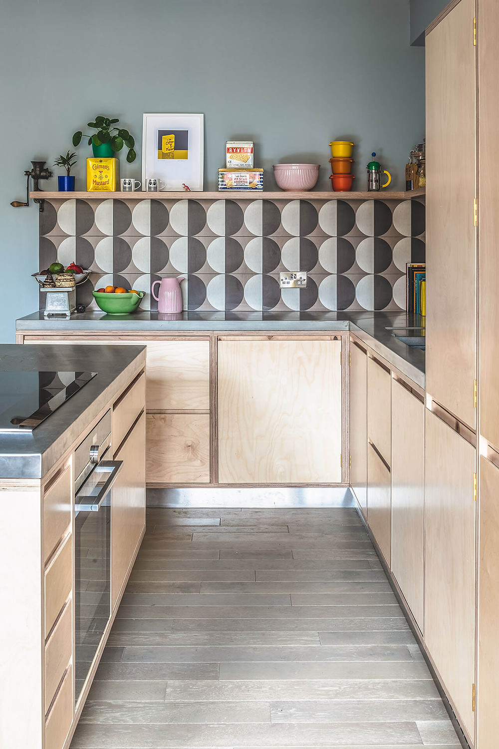 Sustainable plywood used in kitchen design.